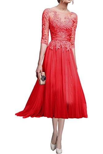 Victory Bridal Damen Hochwertig Rosa Spitze Langarm Abendkleider Ballkleider Partykleider Festlichkleider Lang-40 Rot Kurz