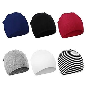 DRESHOW BQUBO 6 Pack Unisex Baby Beanie Hat Infant Baby Soft Cute Knit Cap Nursery Beanie