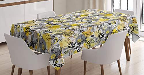ABAKUHAUS Gris y Amarillo Mantele, Círculos incompletos, Estampado con la Última Tecnología Lavable Colores Firmes, 140 x 200 cm, Blanco Beige