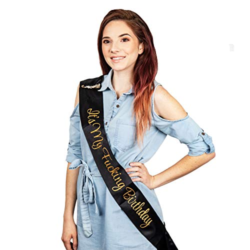 SMIRLY Happy Birthday Sash Birthday Accessories Its My Fing Birthday Sash with Funny Saying in Black and Gold Glitter Letters, Pin and Cake Topper - Adult Birthday Party Accessories for Men and Women