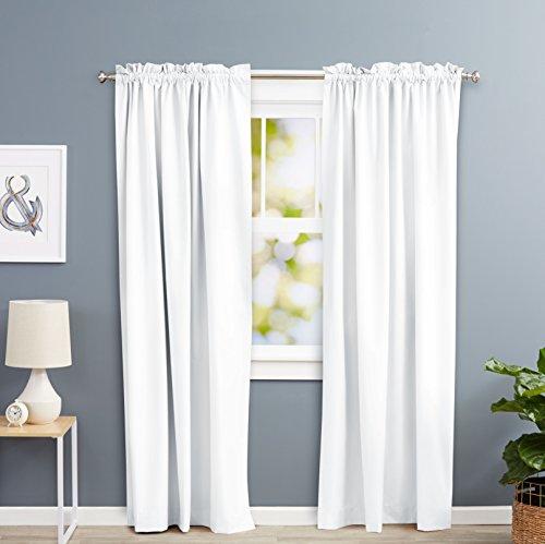Amazon Basics - Cortinas opacas con aislamiento térmico y alzapaños, 1 unidad, 135 x 244 cm, Blanco
