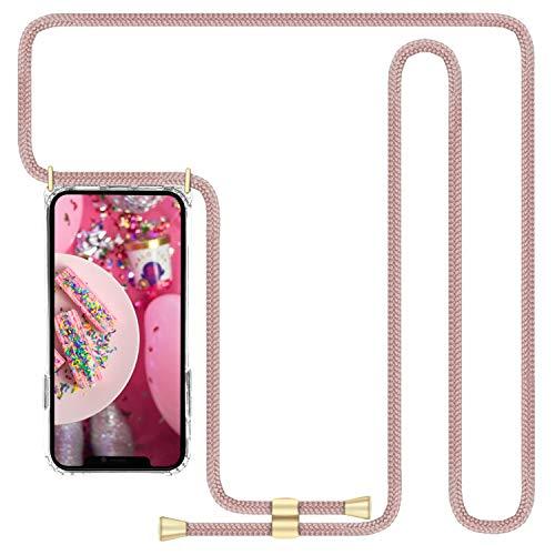 Imikoko Handykette Hülle für iPhone X/iPhone XS Necklace Hülle mit Kordel zum Umhängen Silikon Handy Schutzhülle mit Band - Schnur mit Case zum umhängen (Rosegold)