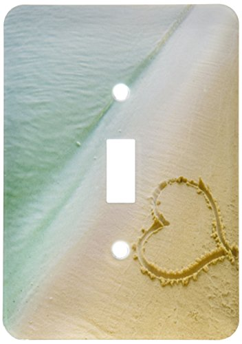 3dRose lsp_173299_1 Heart Shape Symbolizing Love, Heart Carved in Sand on The Beach Light Switch Cover