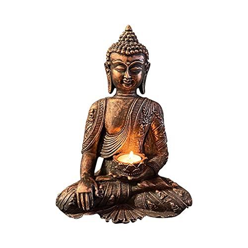 WYBL Buddha Tealight Holder Tea Luz Vela Candlestick Decorativo Vela Linternas Velas de Incienso Decoración Feng Shui Resina Estatua Decorativo 0604