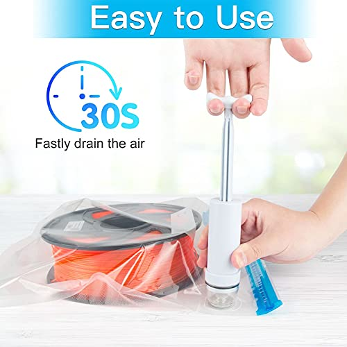 YOOPAI Filament Storage Bag Vacuum Kit - 20Pack Cleaning Drying Sealed Bags (Plastic 13.2 x 12.7inch) for 3D Printer Filament, with Desiccants / Humidity Indicator Cards / Hand Pump