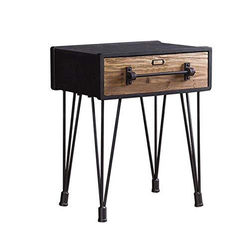 Stół do łóżka, Stoły stołowe stołowe, nocna stojak do przechowywania, loft przemysłowy stół boczny, szafka do przechowywania z szufladami, metalowa strona stolika stolika do kawy stolik Kolor: A, rozm
