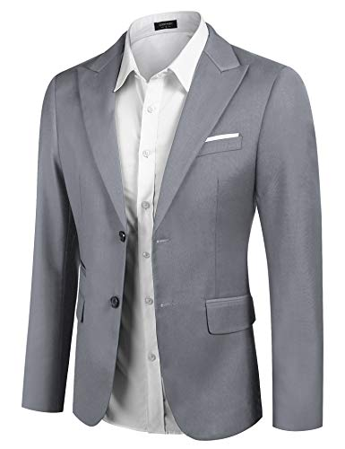 COOFANDY Men's Casual Suit Blazer Jacket Slim Fit Sport Coats Lightweight Two Button Gray