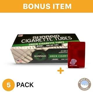 Shargio Cigarette tubes 200 ct box green king size menthol 5 pack & bonus case.