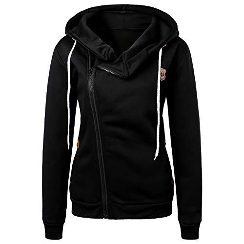 BUOYDM Cappotto Donna Cappotti con Cappuccio Casual Felpa Sweatshirt Invernale Hoodies Giacche Outwear Nero M