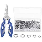 Keadic 200Pcs [5 - Sizes] Heavy Duty Stainless Steel Split Fishing Rings - Double Snap Loop Lure Connectors with Fishing Pliers Accessory 30lb to 120lb Test