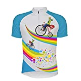 Maillot De Ciclismo Para Hombre Manga Corta,Verano Transpirable Secado Rápido Bicicleta De Dibujos Animados Impresa Arcoiris Ciclismo De Montaña Jersey Ciclismo Camisa, Cremallera Completa Mtb Bic