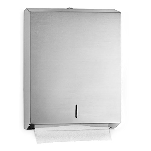 Alpine Industries C-Fold/Multifold Paper Towel Dispenser - Holds 400 C-Folds or 525 Multifold Tissues - Stainless Wall Mount Tissue Holder For Home & Office Countertop & Restroom (Stainless Steel)