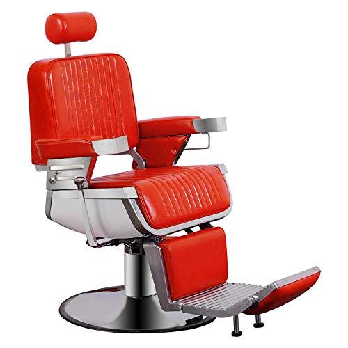 BarberPub All Purpose Heavy Duty Vintage Hydraulic Recline Barber Chair Salon Beauty Spa Styling Equipment 2009 (Red)