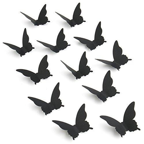 Luxbon 100er Set 3D Schmetterlinge Kinderzimmer Wandtattoo Aufkleber Abziehbilder Wand-dekor mit Klebepunkten Schwarz