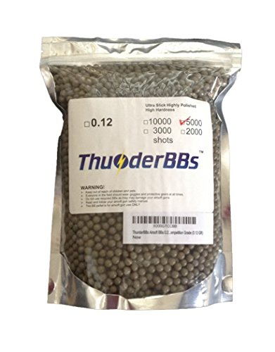 TBB0.12 ThunderBBs Airsoft BBS 0.12G, White or Brown or Yellow, 5000 Rounds/Bag