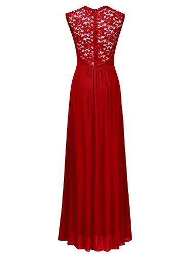 Miusol MIUSOL Damen Elegant Aermellos Spitzenkleid Hochzeit Cocktailkleid Chiffon Faltenrock Partykleid Langes Kleid Rot XXL