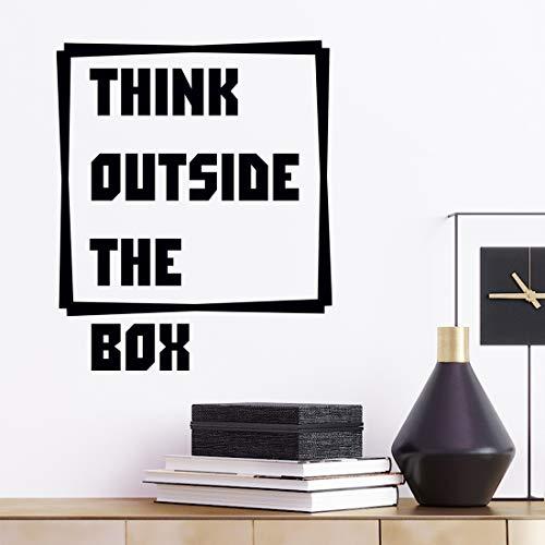 Pegatina decorativa para pared con cita en inglés 'Think Outside The Box' para dormitorio con cita motivacional inspiradora grande de vinilo para sala de cocina oficina familia palabras