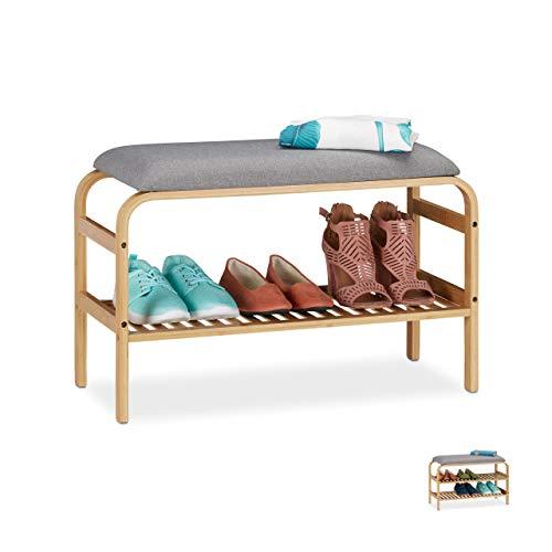 Relaxdays Banco Zapatero (3 Pares, Asiento Acolchado, Pasillo y guardarropa, 46 x 69 x 30 cm), Color Natural, 1 Compartimento, 1 Unidad