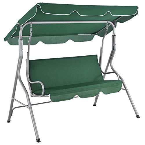 ArtLife Hollywoodschaukel 3-Sitzer mit Dach & Sitzauflage – Gartenschaukel 200 kg belastbar – Schaukelbank für Garten & Terrasse - grün