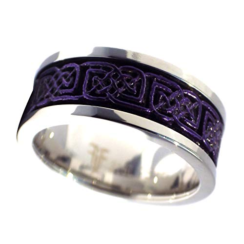 Fantasy Forge Jewelry Royal Purple Celtic Spinner Ring Stainless Steel 8mm Comfort Fit Thumb Band Size 10.5