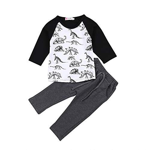 Fossen 1-5 años Niño Camiseta Dinosaurio de Sibujos Animados y Pantalones Largo Conjunto de Ropa Otoño e Invierno (5 años, Negro)