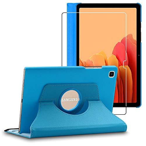 ebestStar - Funda Compatible con Samsung Galaxy Tab A7 10.4 T505 (2020) Carcasa Cuero PU, Giratoria 360 Grados, Función Soporte, Azul + Cristal Templado [Tab S7: 247.6 x 157.4 x 7 mm, 10.4'']