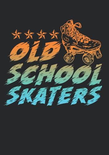 Notizbuch A5 kariert mit Softcover Design: Oldschool Skaters Rollerskates Rollschuhe Geschenk Inliner: 120 karierte DIN A5 Seiten