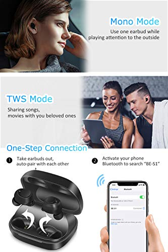 Auricolari Bluetooth 5.0 Cuffie Senza Fili, IPX7 Impermeabile Cuffie Wireless, 60H Playtime, Deep Bass Stereo Sound in Ear Sport con HD Microfono, DSP Noise Cancelling, Touch Control per IOS e Android