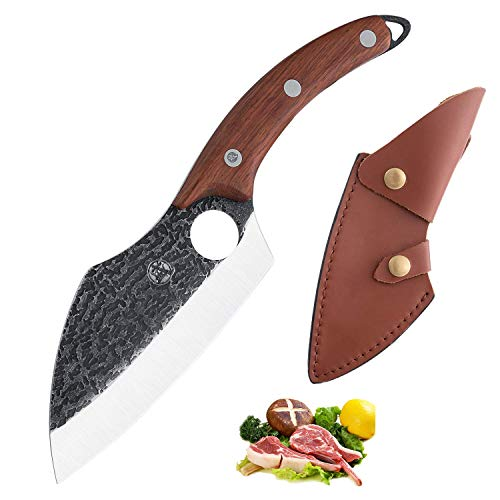 Boning Knife with Leather Sheath Full Tang Cleaver Knife Carbon Steel Butcher Knife for Kitchen, BBQ, Camping or Hiking