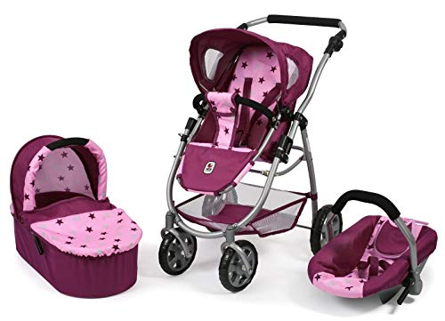 Bayer Chic 2000 637 78 Kombi-Puppenwagen Emotion 3-in-1 All In, Stars Brombeere