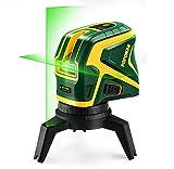 POPOMAN Traceurs de ligne laser, Niveau laser vert avec 2 points de connexion, Chargement USB, Ligne laser croisée à autonivelant 25 m, Fonction d'impulsion, Base magnétique rotative incluse - MTM320B