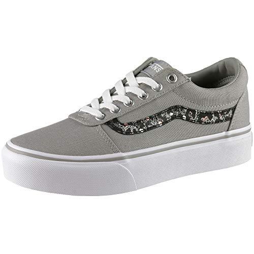 Vans Damen Ward Platform Canvas Sneaker, Grau (Metallic Leopard) Drizzle Vw2), 35 EU