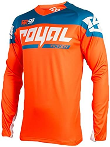 Royal Racing Maillot Victory Race Manches Longues-Orange Bleu-XXL Homme, FR (Taille Fabricant   2XL)