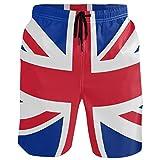 visesunny British Flag Pattern Men's Beach Shorts Summer Swim Trunks Sports Running Bathing Suits with Mesh Lining