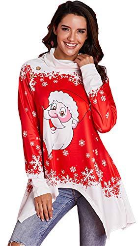 Manga Larga Cuello Alzado Desbocado de Navidad Bajo Posterior Escalonado Asimétrico Sweatshirt Sudadera T-Shirt...
