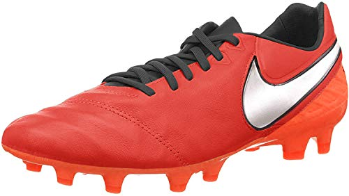 Nike Tiempo Legacy II Fg, Botas de Fútbol Hombre, Naranja / Plateado / Rojo (Lt Crmsn / Mtllc Slvr-Ttl Crmsn), 40