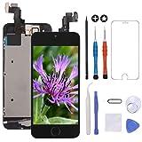 GULEEK Pantalla para iPhone 5s/se 4.0' LCD Táctil Pantalla con Cámara Frontal,Sensor de proximidad,Altavoz, ensamblaje de Marco digitalizador y Kit de reparación (Negro)