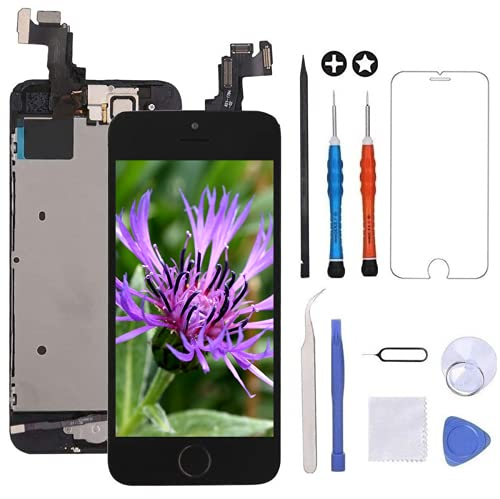 "GULEEK Pantalla para iPhone 5s/se 4.0"" LCD Táctil Pantalla con Cámara Frontal,Sensor de proximidad,Altavoz, ensamblaje de Marco digitalizador y Kit de reparación (Negro)"