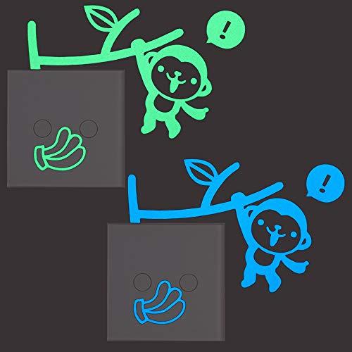 Atiehua Lustige Affe Banane Leuchtschalter Aufkleber Cartoon Im Dunkeln Leuchten Tier Wanddekoration Aufkleber Kinderzimmer Wohnkultur Aufkleber