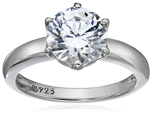 Platinum-Plated Sterling Silver Solitaire Ring set with Round Swarovski Zirconia (2 cttw), Size 5