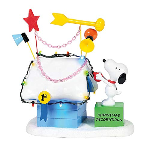 Department 56 Peanuts Village Ribbon Winning Doghouse Lit Building, 7 Inch, Multicolor