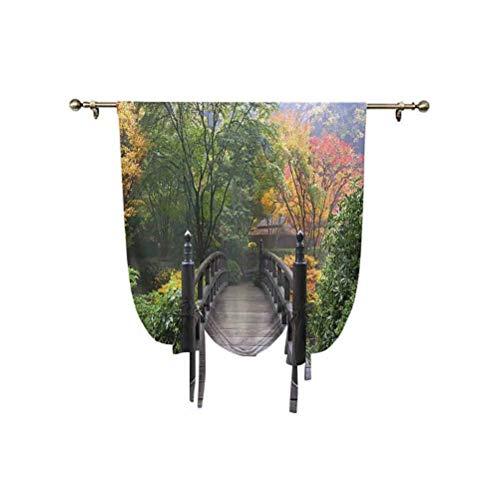 Nature - Cortina opaca para ventana, diseño de puente de madera en Portland, jardín japonés Oregon en otoño con niebla y aislamiento térmico, 81 x 137 cm, para ventanas del hogar, color verde coral
