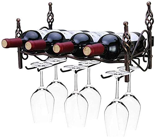 Extraíble montado en la pared Estante del vino de hierro forjado estante taza de vino botellero botellero vino titular,Bronze