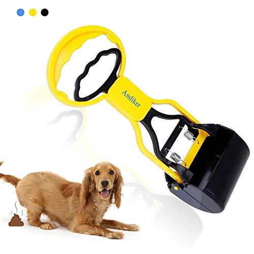 Andiker - Paletta per escrementi di animali domestici, portatile, paletta per escrementi del cane, ganasce per escrementi di animali domestici, molla ad alta elasticità, colore: nero