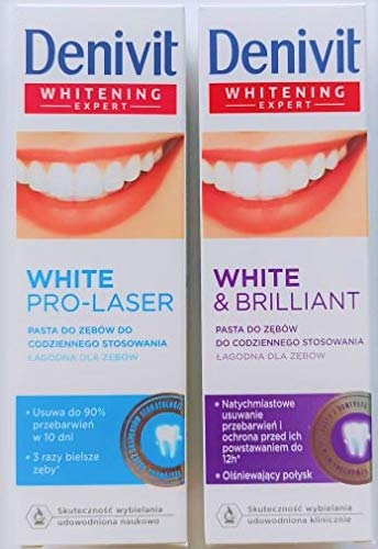 Denivit Duo Set 2 x 50 ml Whitening Toothpastes White & Brilliant and White Pro Laser Whiter Teeth