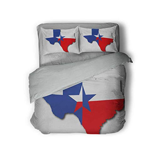 Luoiaax Texas Star Extra Large Quilt Cover Outline of The Texas Map American Southwest Austin Houston City Can be Used as a Quilt Cover-Lightweight (Queen) Vermilion White Violet Blue
