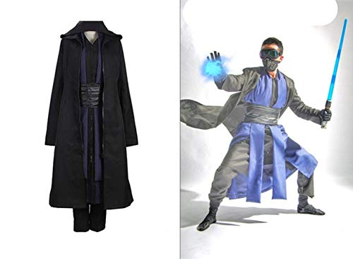 Movie Star Wars Jedi Knight Black Costumes Comic Con Darth Maul Charactor Cosplay Cloths Full Set with Gloves XXL Black
