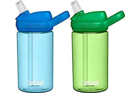 CamelBak Eddy+ Kids 14oz BPA-Free Water Bottle with Straw, 2-Pack, True Blue/Palm (2286902040)