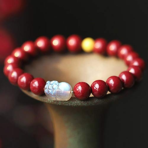 Feng Shui Moonstone Pixiu Wealth Bracelet Natural Genuine Purple Sand Beeswax Buddha Beads Bracelet Lucky Charms Handmade Chinese Gifts for Healing Attract Money for Good Fortune Bring Prosperity