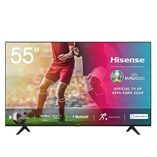 Hisense 55AE7000F 139 cm (55 Zoll) Fernseher (4K Ultra HD, HDR, Triple Tuner DVB-C/S/S2/T/T2, Smart-TV, Frameless, Bluetooth, Alexa)